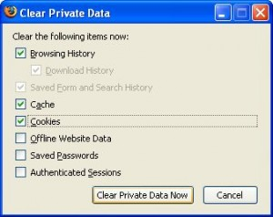 Clear private data in Firefox to fix error message.