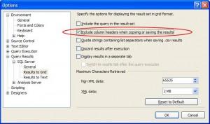 SQL Server Manangement Studio Options